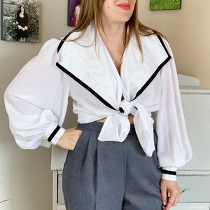 Vintage Nautical Embroidered Puffy Sleeve Blouse